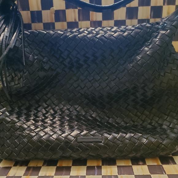 Vin Francesco Biasia black woven leather tote